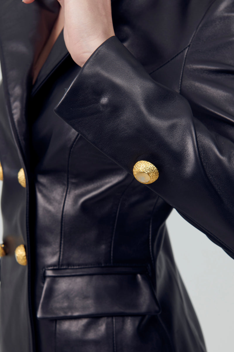 Leather DB Blazer Gold Buttons