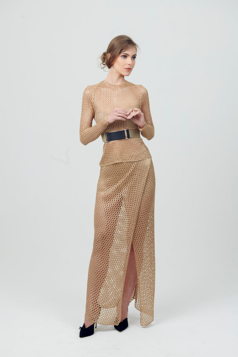 Net Knit Cotton Long Skirt