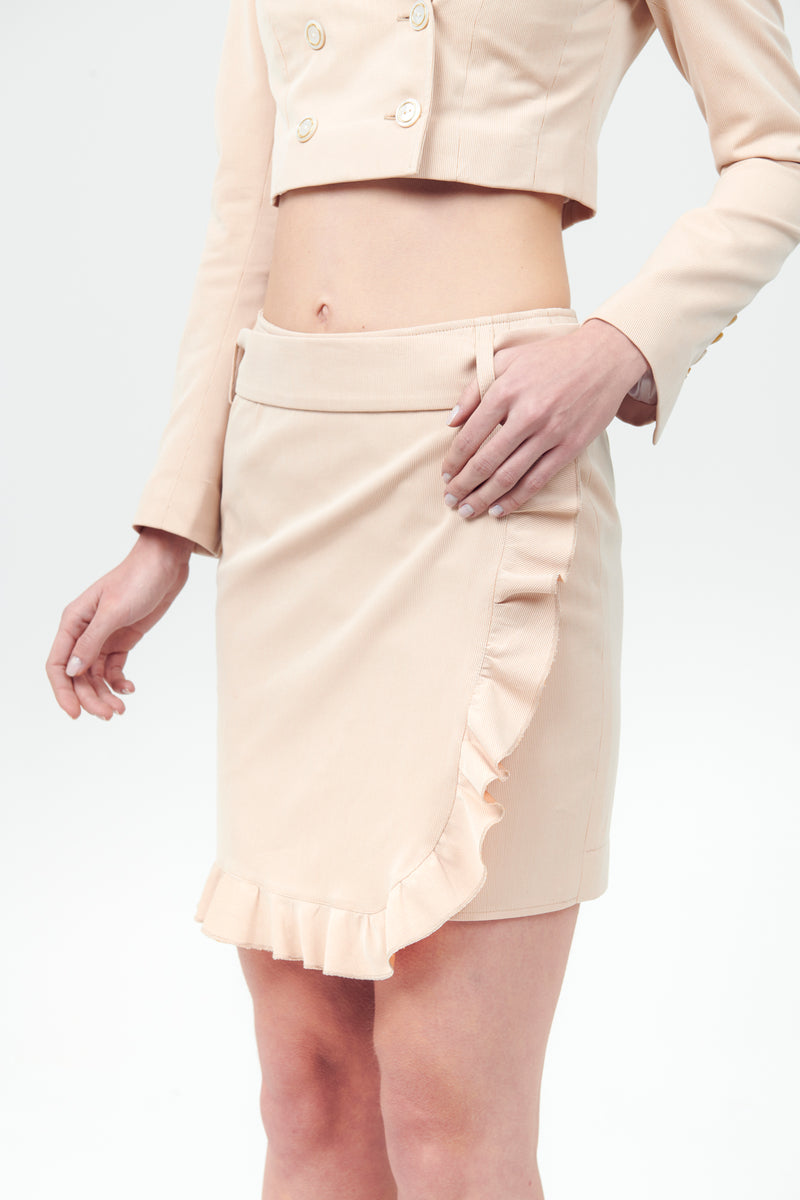 Cotton Ribbed Side Ruffle Skirt with Belt