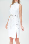 HighNeck Sheath Dress + Studded Belt