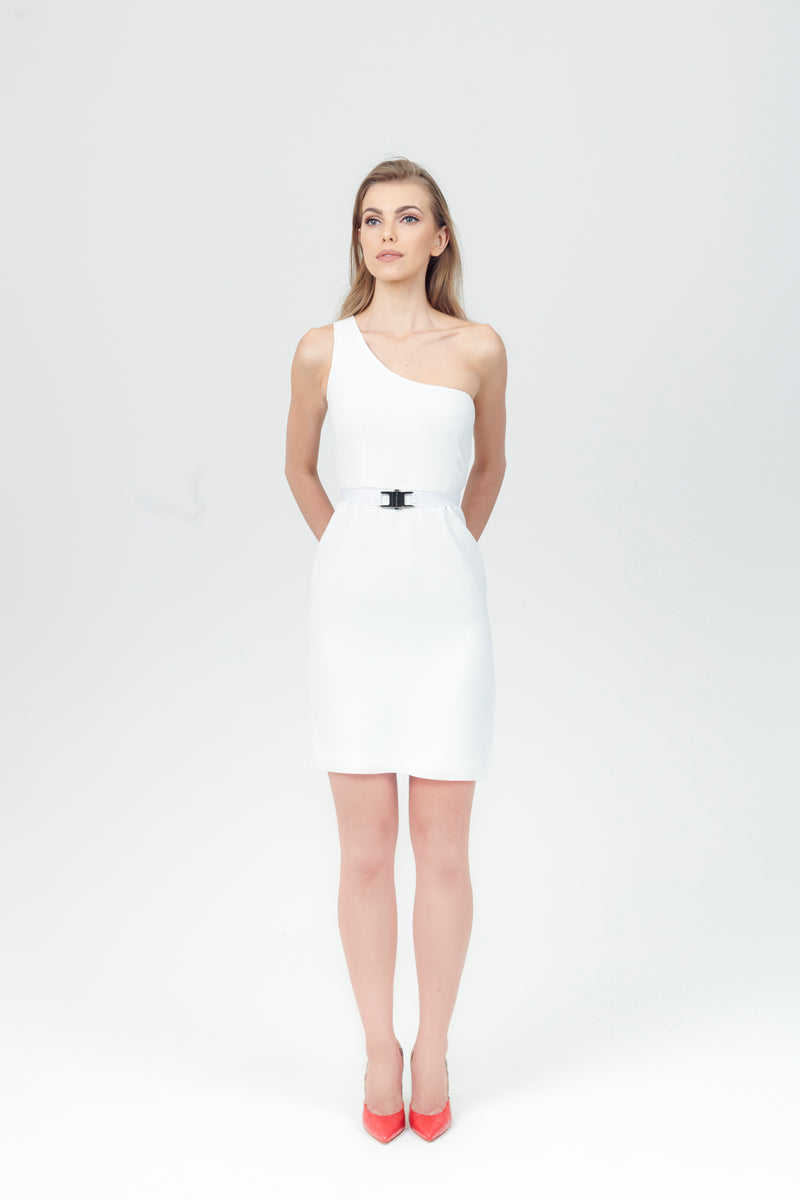 One Shoulder Viscose Dress + Belt