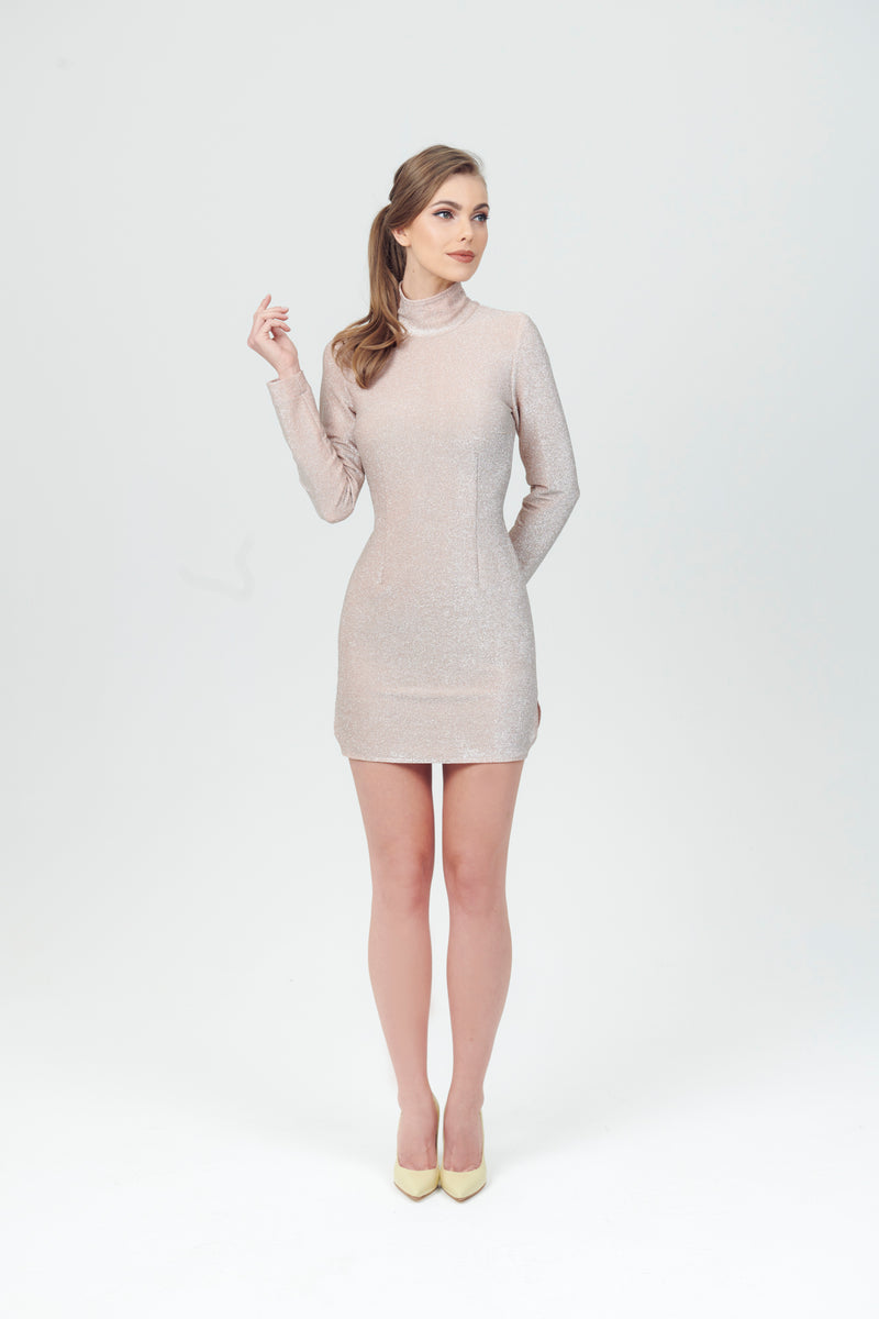 Glitter Oblò Back Short Dress with side slit