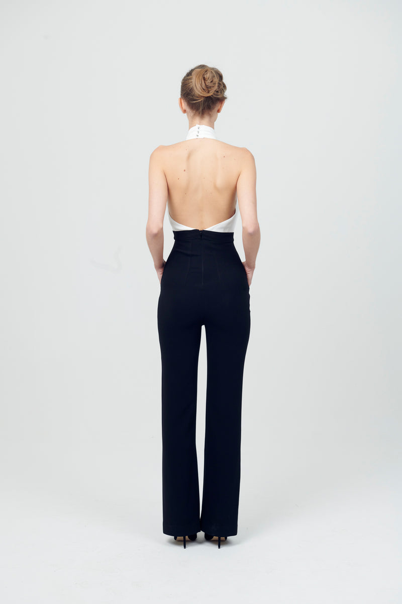 Backless Bow Flare Jumpsuit