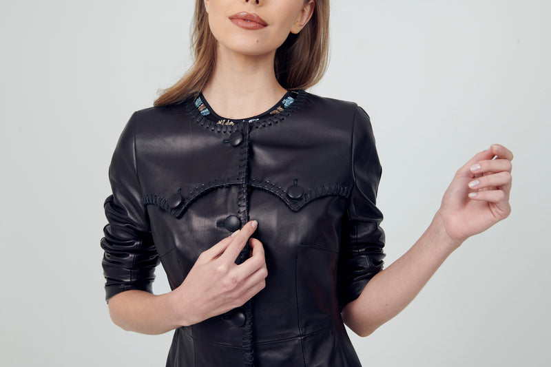 Leather Detailed Trims Coat with pockets