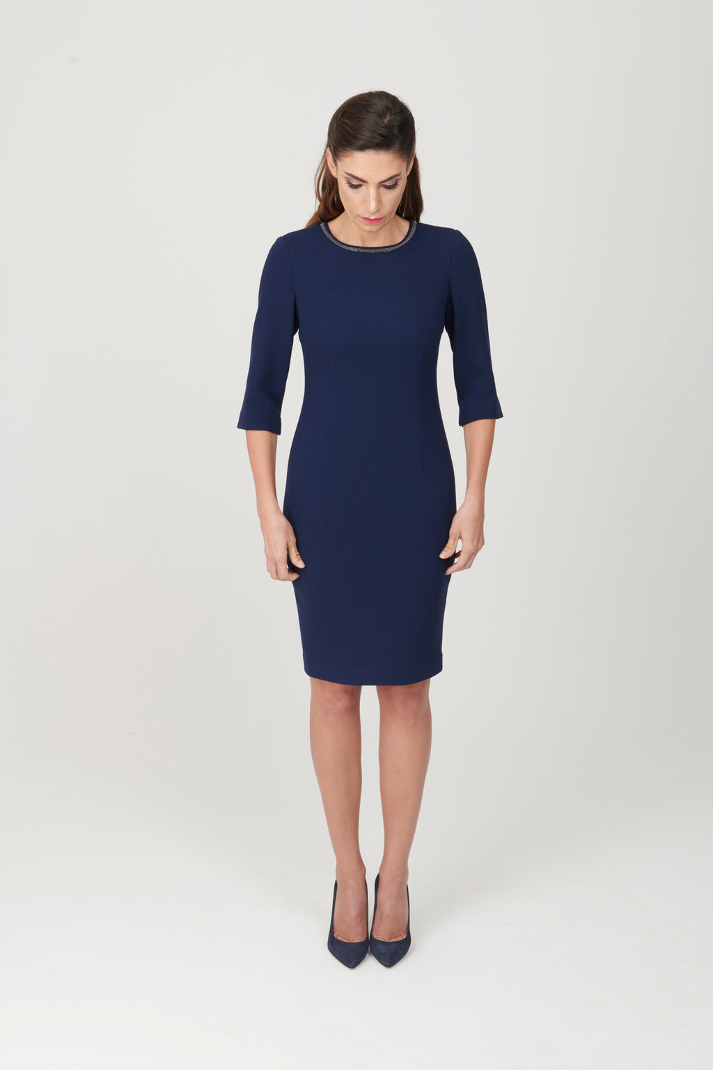 Double Sleeve Crewneck 3 / 4 Sleeve Dress with Detail - My Graphiti