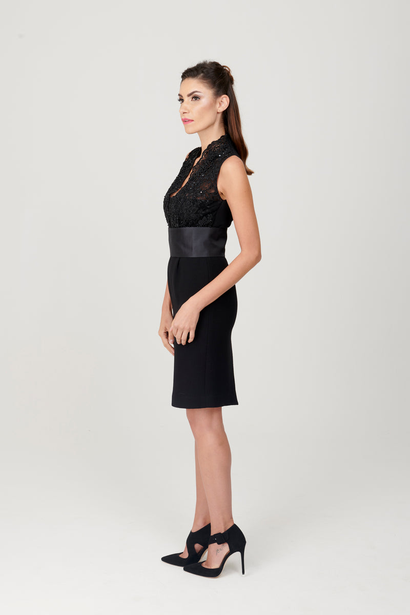 Double Crepe Dress with Beaded Lace Details - My Graphiti