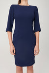 Double Crepe Crewneck 3/4 Sleeve Dress with Detail - My Graphiti