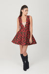 Brocade Deep V Neck Bell Dress - My Graphiti