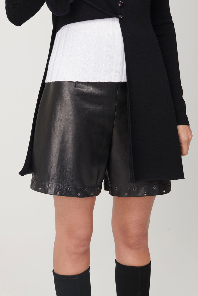 Studded Leather Bermuda Shorts - My Graphiti