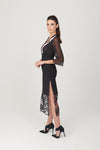 Chiffon 3/4 Sleeve Dress with Side Slit - My Graphiti