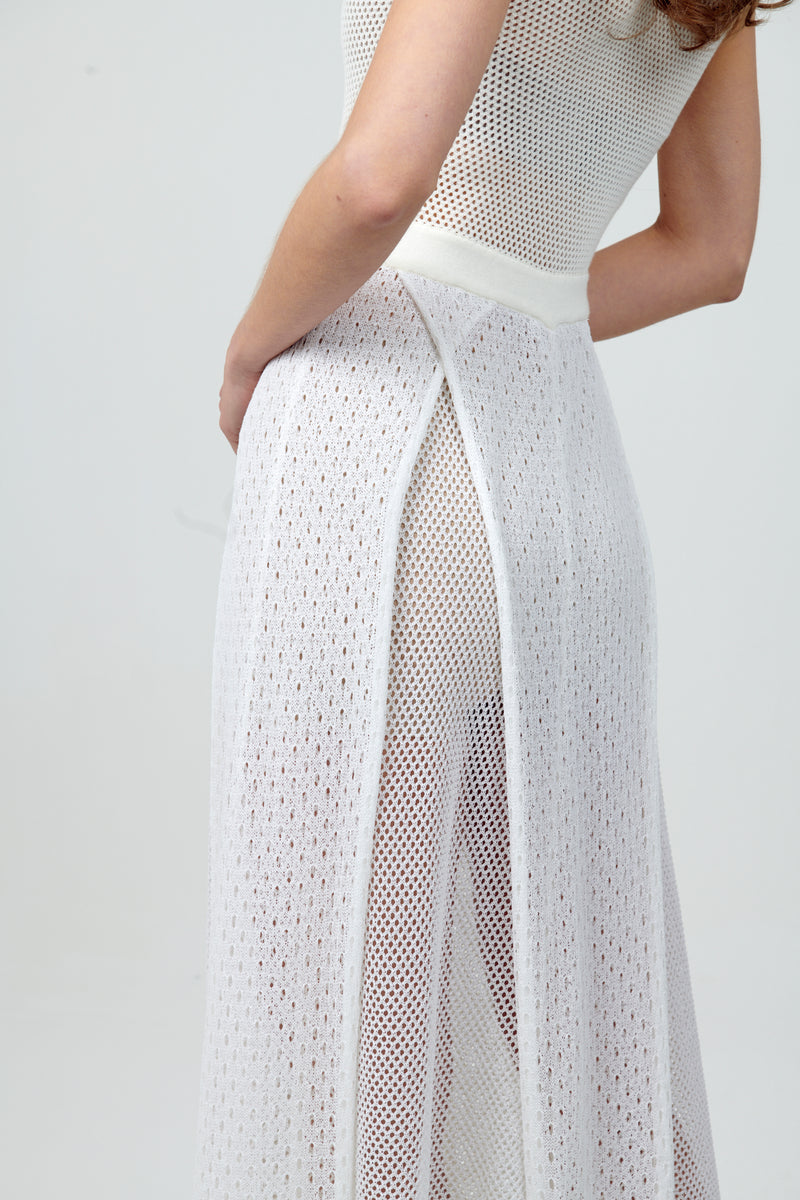 White Knit Long Dress with Slits