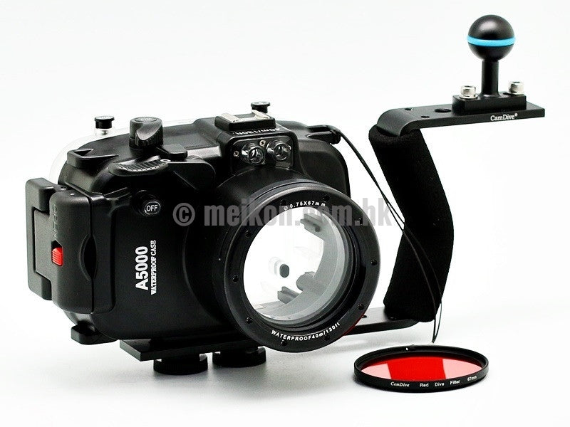 Sony A5000 (16-50) 40m/130ft Meikon Underwater camera housing aluminium handle kit
