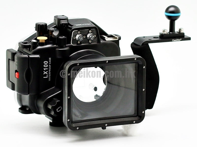 Panasonic LX100 40m/130ft Meikon Underwater camera housing aluminium handle kit