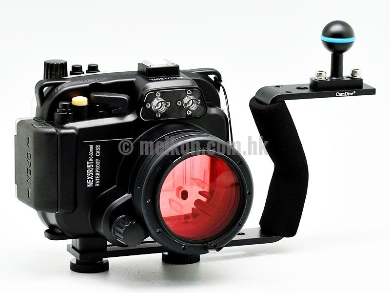Sony NEX 5R/5T (16-50) 40m/130ft Meikon Underwater camera housing aluminium handle kit