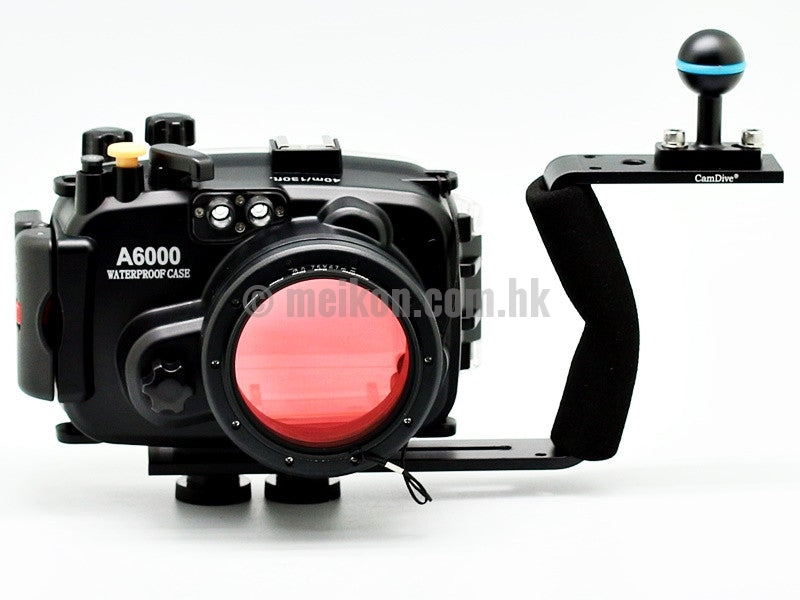 Sony A6000 (16-50) 40m/130ft Meikon Underwater camera housing aluminium handle kit