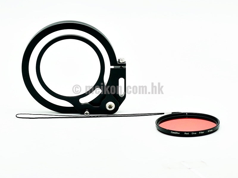 DSLR Flip adapter for 67mm accessories & CamDive® Red diving filter
