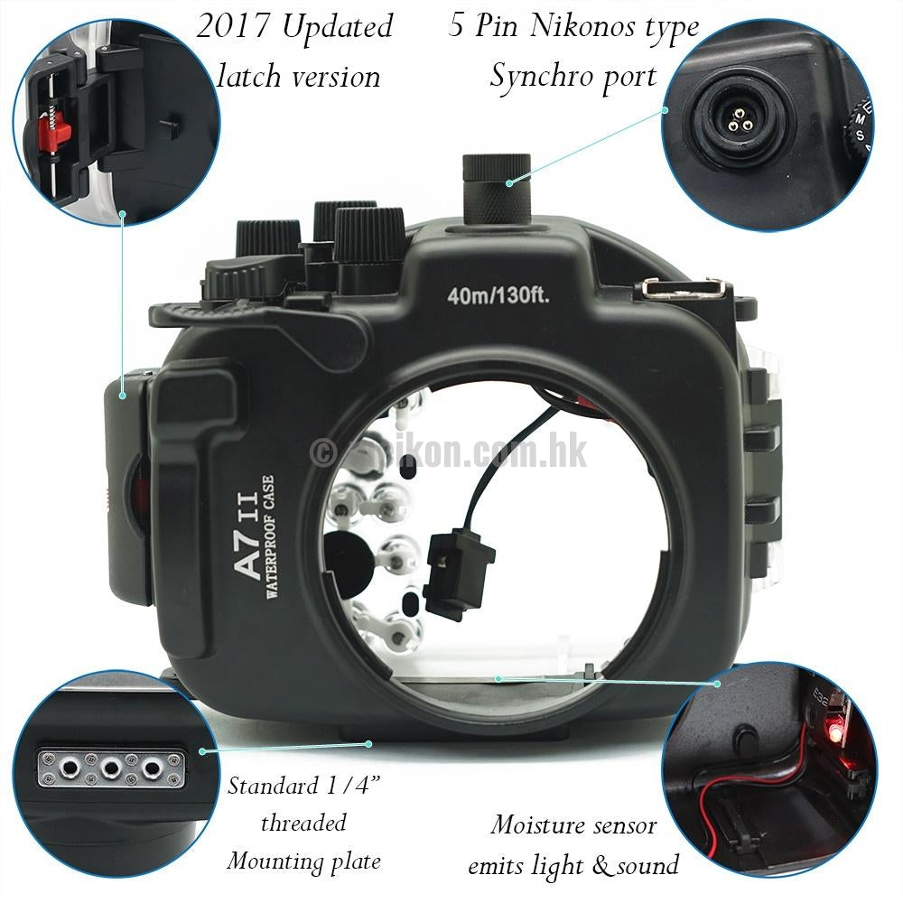 Sony A7R II / A7S II 40M/130FT Underwater camera housing kit with SeaFrogs Dry dome port V.5