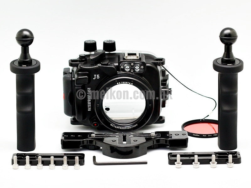Nikon 1 J5 (10) 40m/130ft Meikon Underwater camera housing aluminium tray kit
