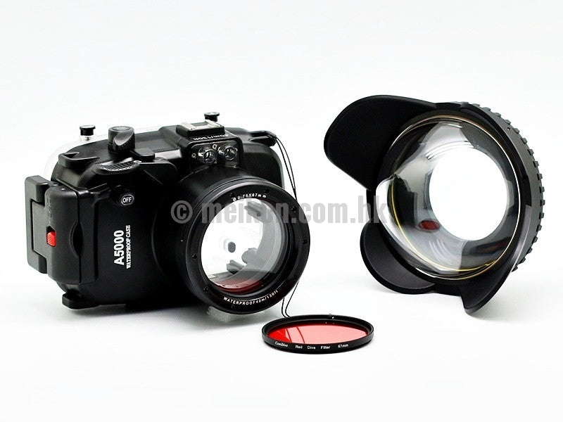 Sony A5000 (16-50) 40m/130ft Meikon Underwater camera housing wide angle lens kit