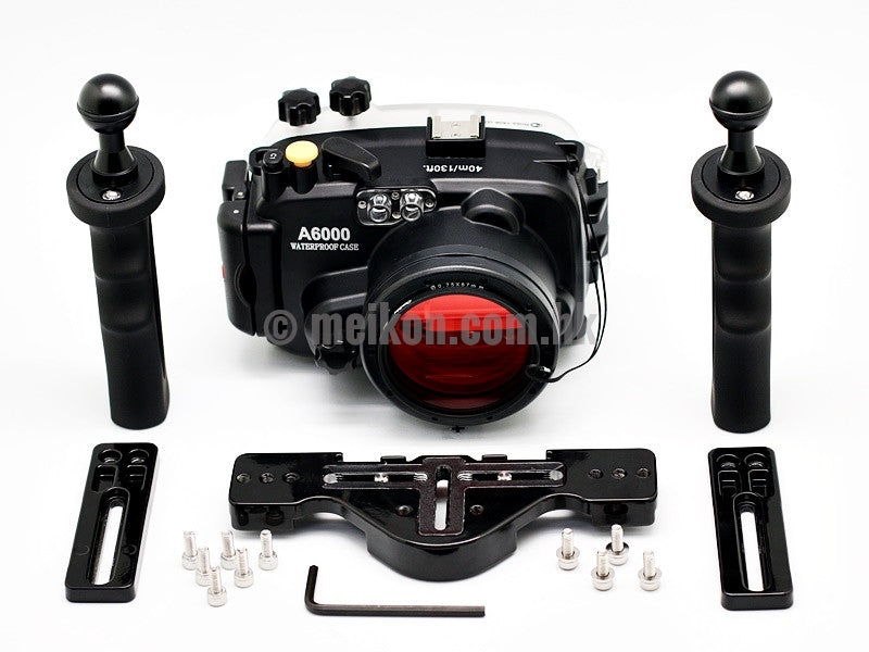 Sony A6000 (16-50) 40m/130ft Meikon Underwater camera housing aluminium tray kit