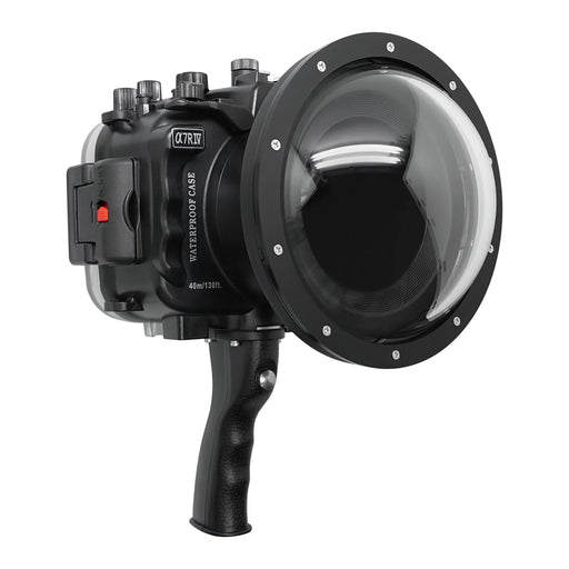 "Sony A7R IV V.2 Series UW camera housing with 6"" Dome port & pistol grip (Including Standard port) Zoom rings for FE12-24 F4 and FE16-35 F4 included. Black - Surf"