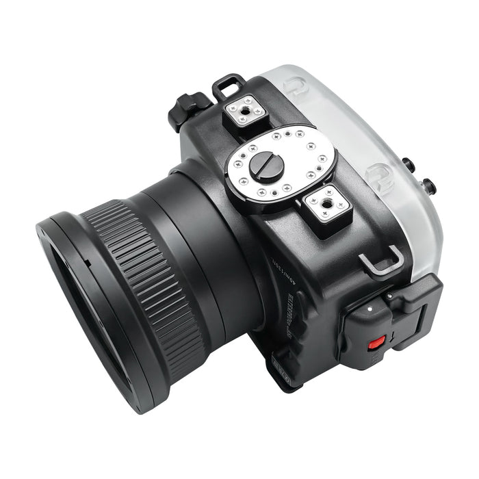 Sony A7R IV V.2 Series 40M/130FT Underwater camera housing (Flat Long port) Focus gear for FE 90mm / Sigma 35mm included. Black
