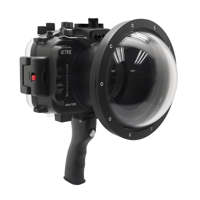 "Sony A7 III V.2 Series UW camera housing with 6"" Dome port & pistol grip (Including Standard port) Zoom rings for FE12-24 F4 and FE16-35 F4 included. Black - Surf"