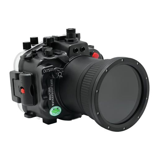Sony A7S III Series 40M/130FT Underwater camera housing (Flat Long port) Focus gear for FE 90mm / Sigma 35mm included. Black