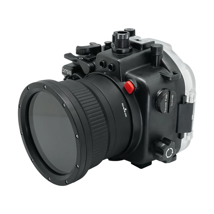 Sony A7S III 40M/130FT Underwater camera housing (Standard port) Zoom ring for FE16-35 F4 included. Black