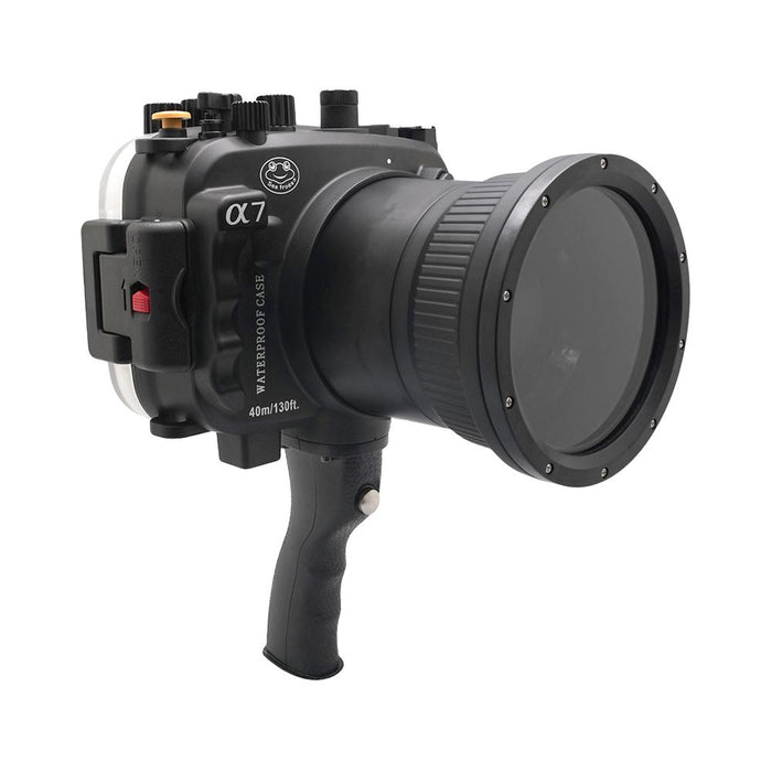 Sony A7 NG Series 40M/130FT Underwater camera housing with pistol grip (Long port) Black