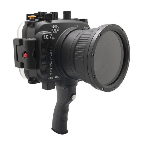 Sony A7 NG Series 40M/130FT Underwater camera housing with pistol grip (Standard port) Black