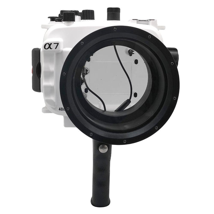 Sony A7 NG Series 40M/130FT Underwater camera housing with pistol grip (Standard port) White