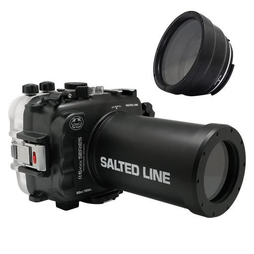 SeaFrogs 60M/195FT Waterproof housing for Sony A6xxx series Salted Line with 55-210mm lens port / GEN 3