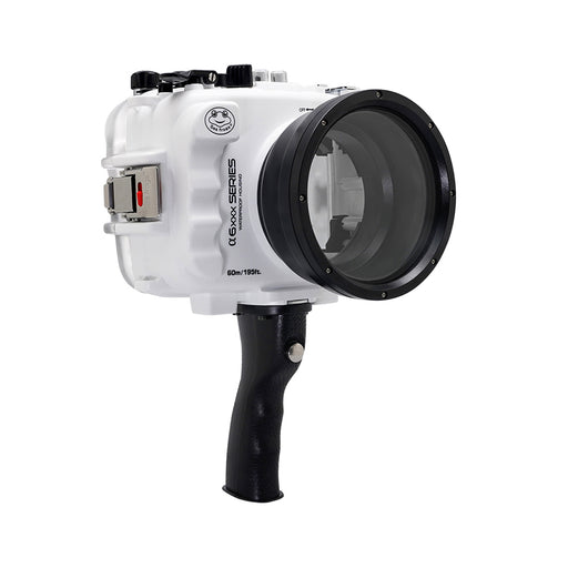 SeaFrogs 60M/195FT Waterproof housing for Sony A6xxx series Salted Line with pistol grip (White) / GEN 3