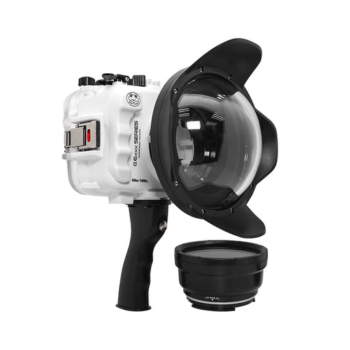 "SeaFrogs UW housing for Sony A6xxx series Salted Line with pistol grip & 6"" Dry dome port (White)"
