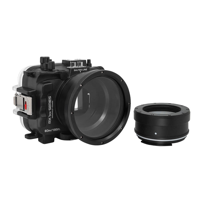 60M/195FT Waterproof housing for Sony RX1xx series Salted Line with 67mm threaded short / Macro port for RX100 III/IV/V (Black)