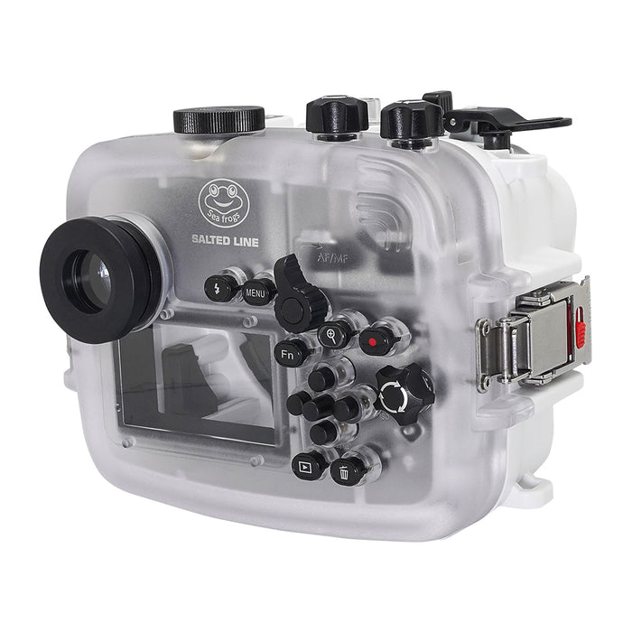 SeaFrogs 60M/195FT Waterproof housing for Sony A6xxx series Salted Line with pistol grip & 55-210mm lens port (White) / GEN 3