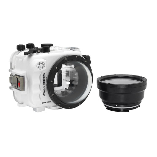 "SeaFrogs 60M/195FT Waterproof housing for Sony A6xxx series Salted Line with 4"" Dome Port (White) / GEN 3"