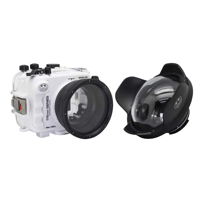 "SeaFrogs UW housing for Sony A6xxx series Salted Line with 6"" Dry dome port (White) / GEN 3"