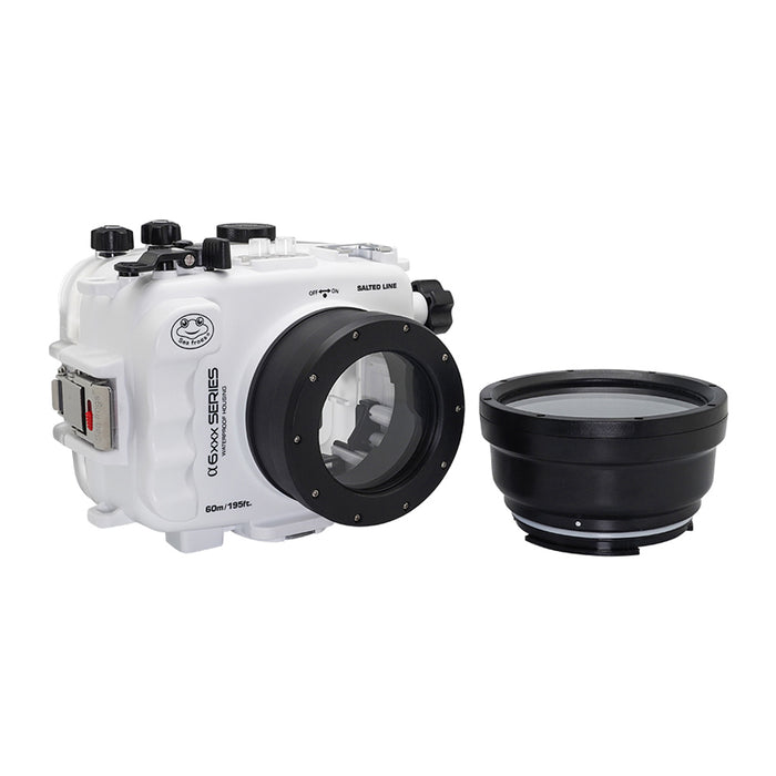 SeaFrogs 60M/195FT Waterproof housing for Sony A6xxx series Salted Line with 67mm threaded short / Macro port (White) / GEN 3