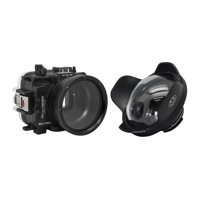 "60M/195FT Waterproof housing for Sony RX1xx series Salted Line with 6"" Dry Dome Port (Black)"