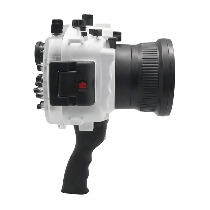 "Sony A9 V.2 Series UW camera housing with 6"" Dome port & pistol grip (Including Standard port) Zoom rings for FE12-24 F4 and FE16-35 F4 included. White - Surf"