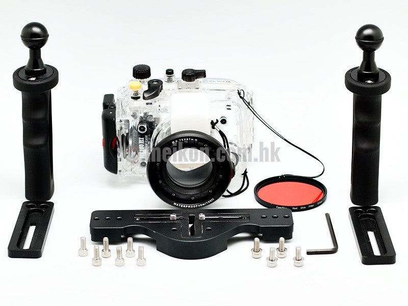 Sony rx100 iii underwater camera housing case with aluminium tray and camdive red diving filter apart view