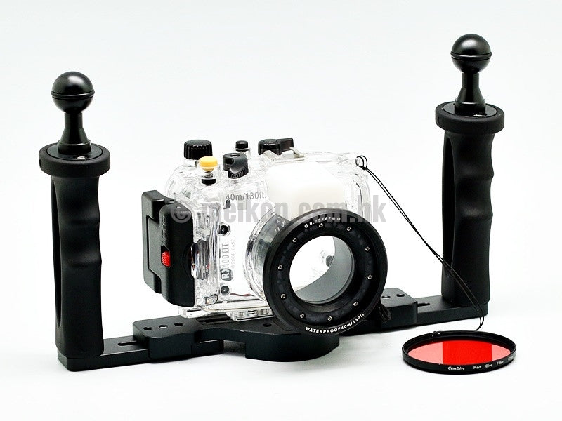 Sony rx100 iii underwater camera housing case with aluminium tray and camdive red diving filter main view