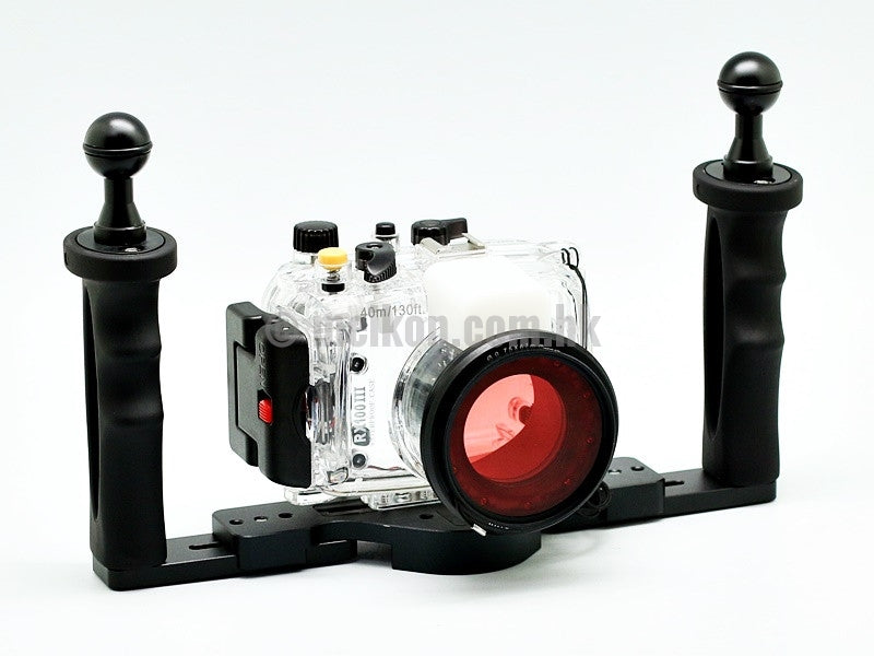 Sony rx100 iii underwater camera housing case with aluminium tray and camdive red diving filter main view 2