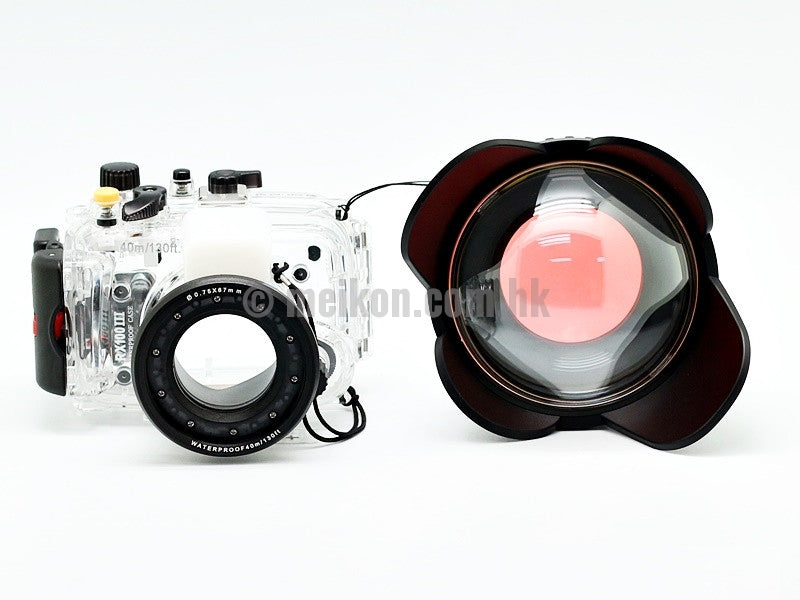 Sony rx100 iii underwater camera housing case with wide angle correctional dome port lens and camdive red diving filter apart view 2