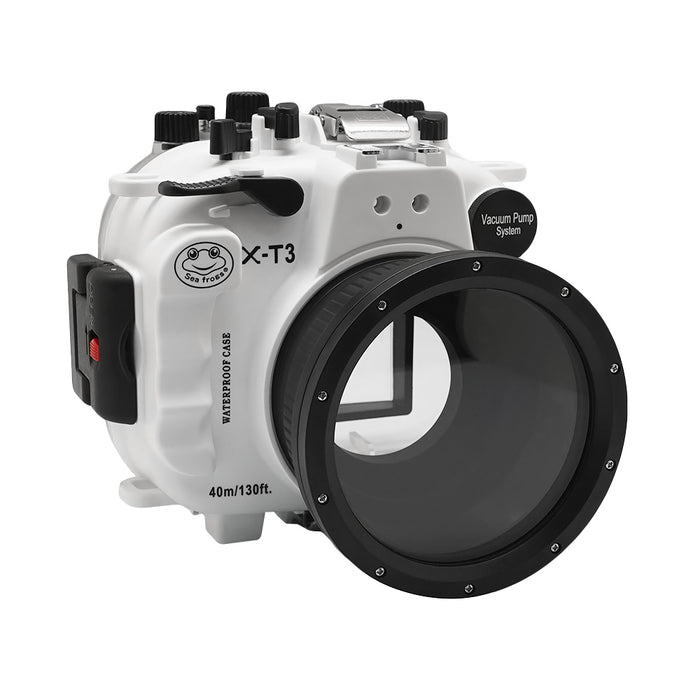 Fujifilm X-T3 40M/130FT Underwater camera housing kit with SeaFrogs Dry dome port V.1 (White)
