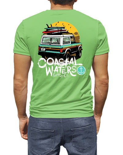 Classic Bronco Coastal Waters Pocket Tee Greenery