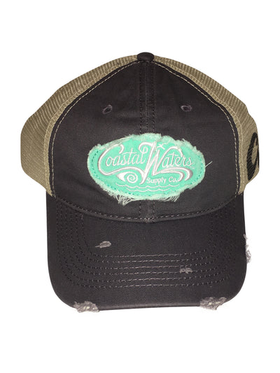 CW Distressed Trucker Grey Turquoise