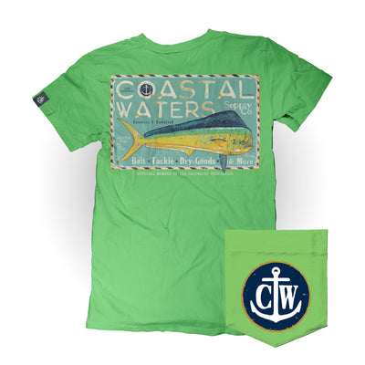 Mahi Supply Coastal Waters Pocket Tee Greenery